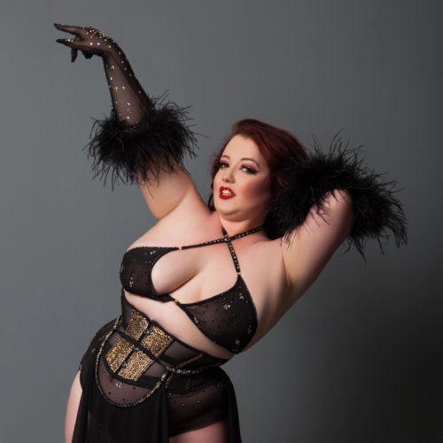 Burlesque girl with gloves Hens Nights