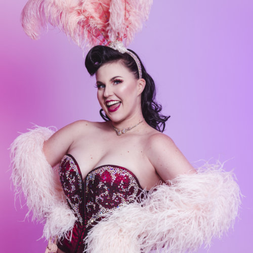 Burlesque Girl with Feather Boa Hens Nights